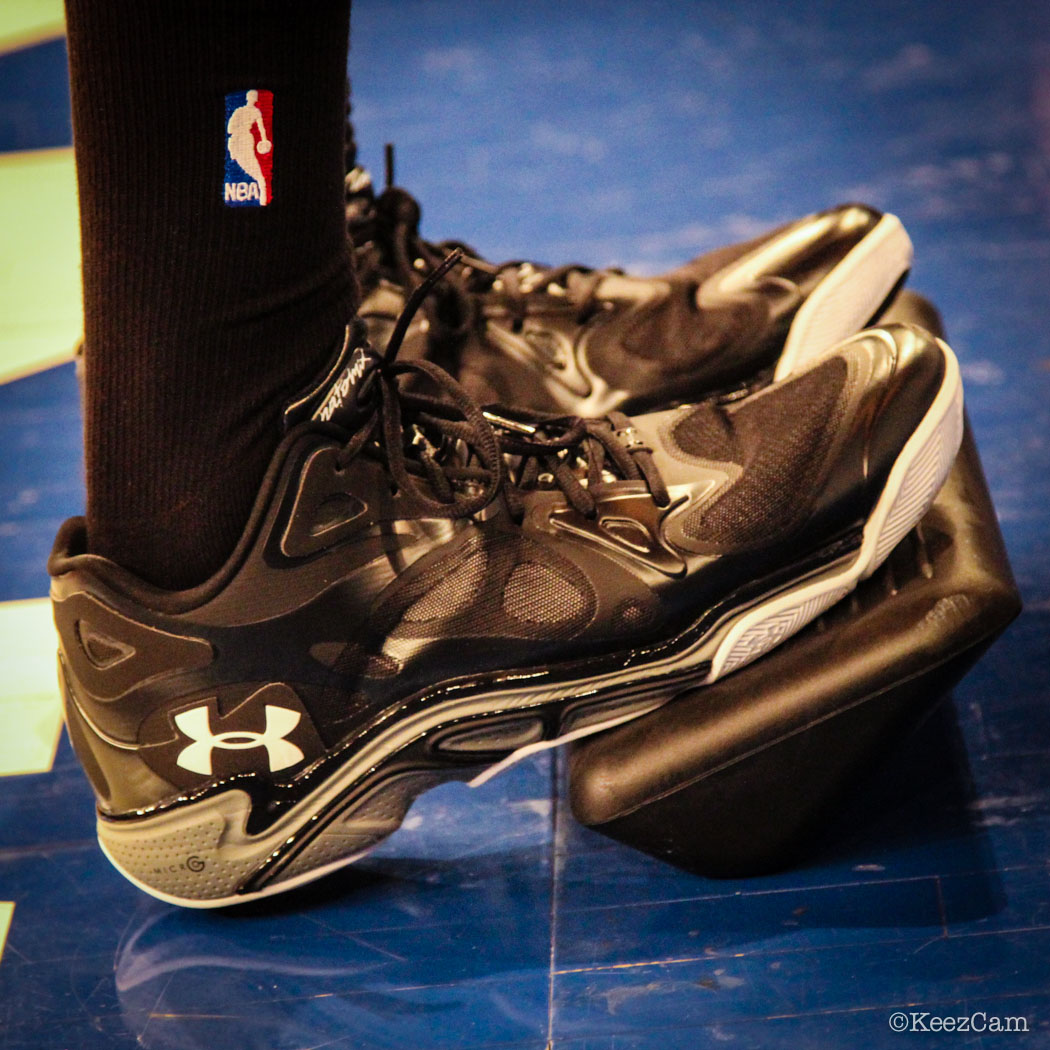 Seth Curry wearing Under Armour Anatomix Spawn Low
