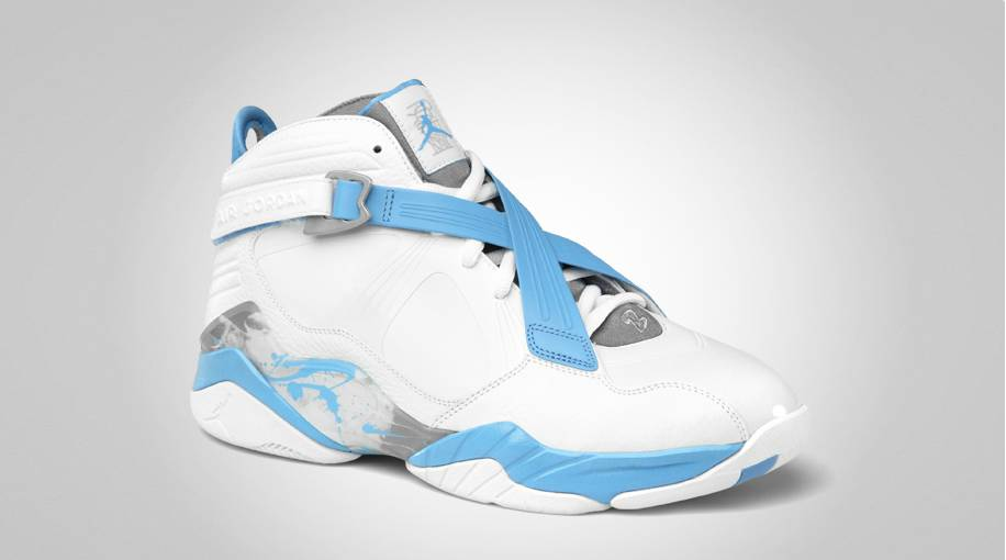 Air Jordan 8,0 Blanc Et Bleu Université
