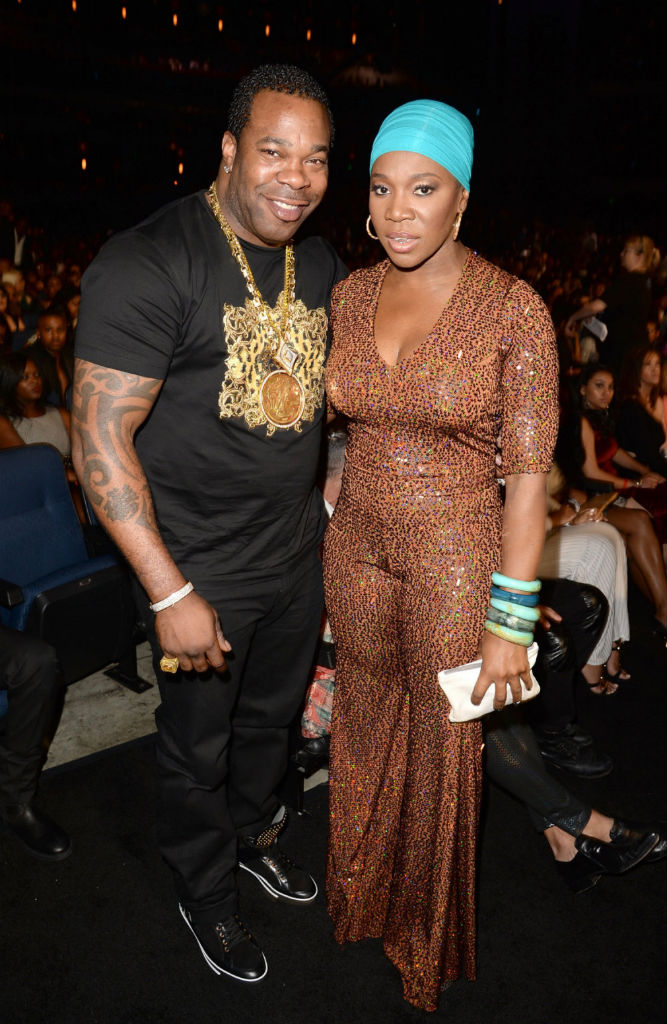 Busta Rhymes wearing Versace Studded High-Top Sneakers