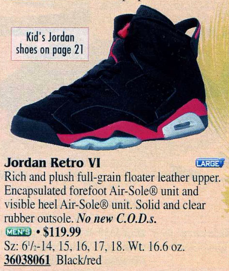Air Jordan 6 Infrared in Eastbay Catalog 2000