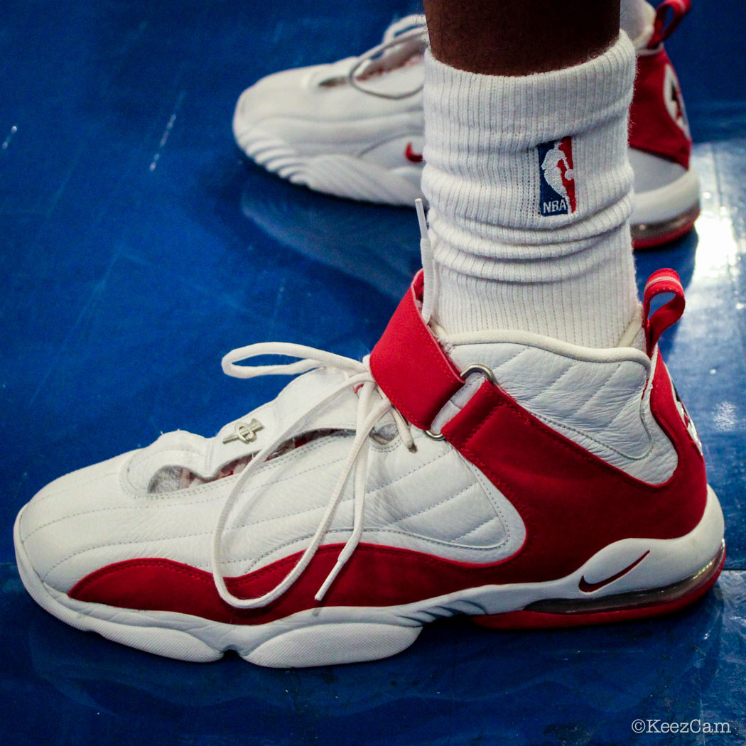 Josh Childress wearing Nike Air Penny 4 White/Red