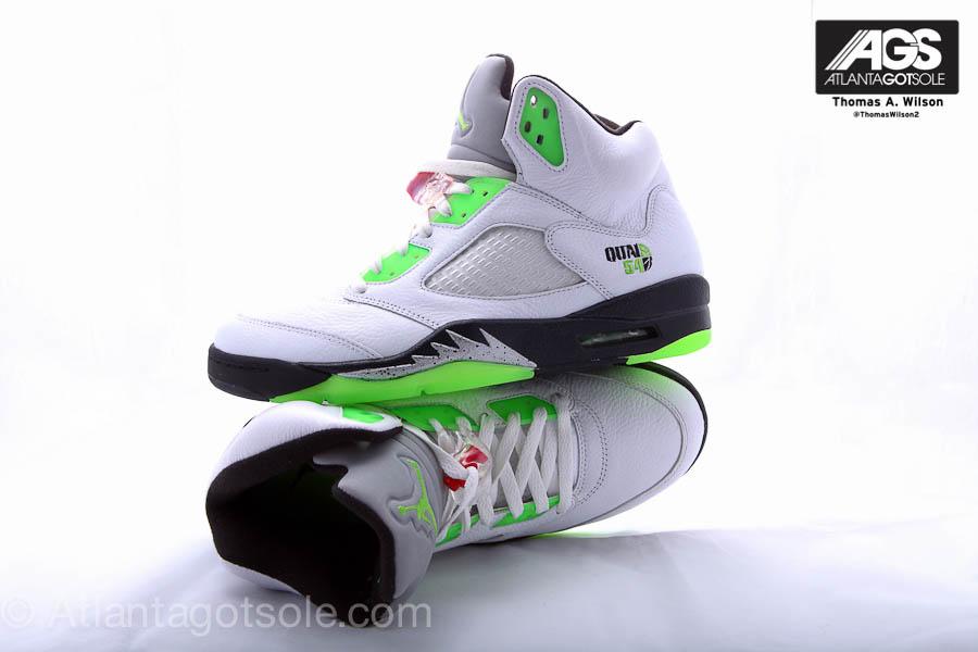 Air Jordan Retro 5 White Black Metallic Silver Radiant Green 467827-105