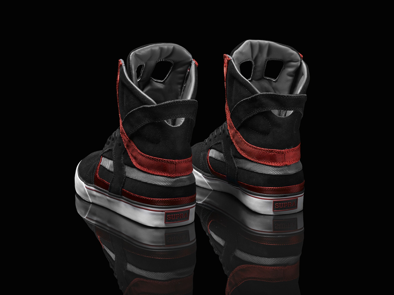 ec880cc22e6 ... Supra Skytop II Black Suede and Grey and Red Cordura Nylon