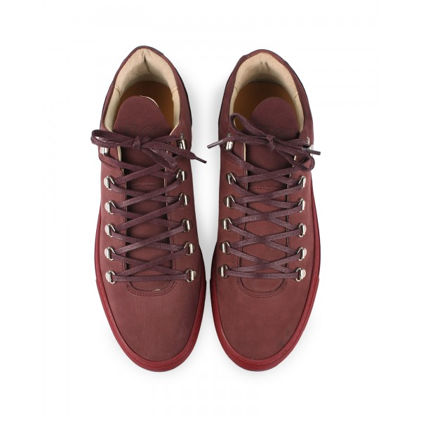 filling pieces amsterdam mountain cut trainer in burgundy nubuck