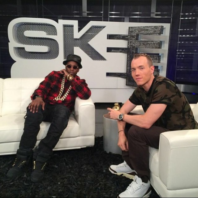 DJ Skee wearing Air Jordan III 3 Mocha; 2 Chainz wearing adidas Originals Top Ten 2 Good To Be TRU