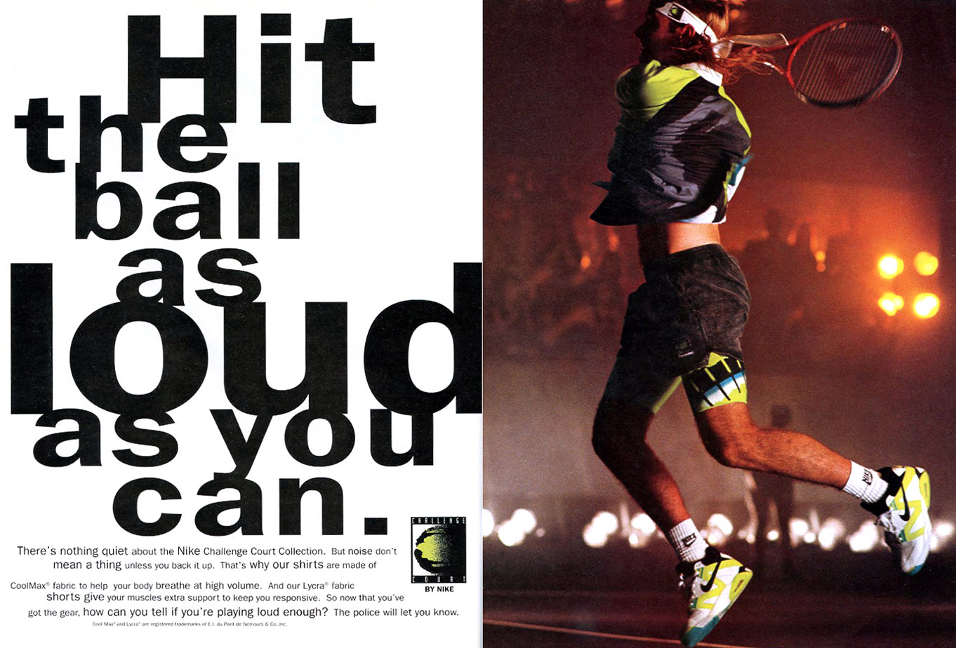 c7e62a00469 Vintage Ad  Andre Agassi in the Nike Air Tech Challenge 3 4
