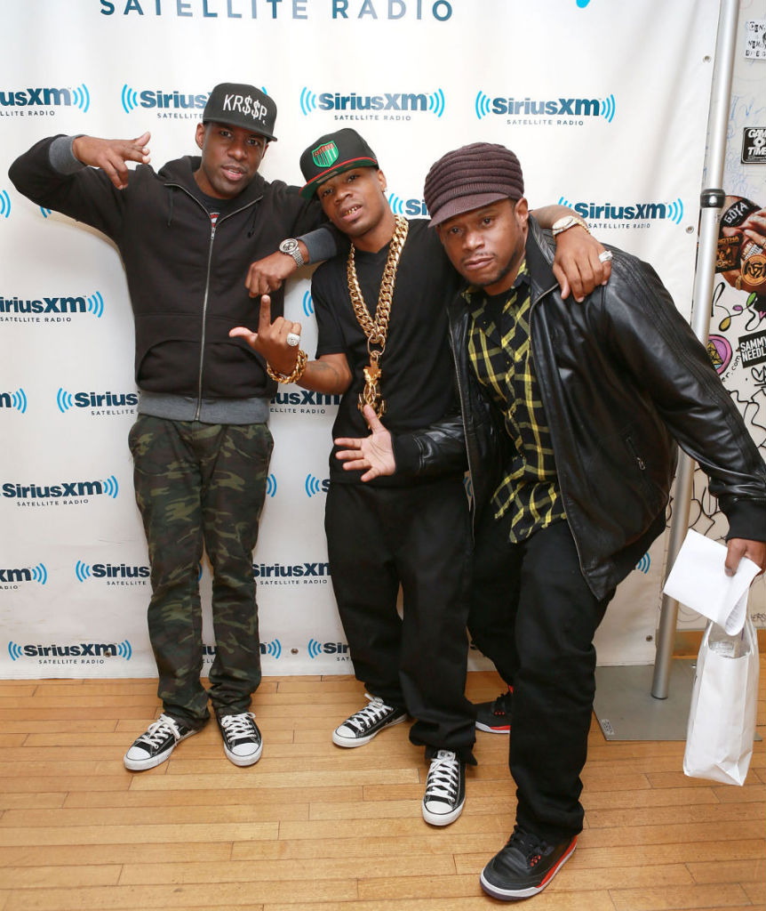 DJ Whoo Kid & Plies wearing Converse Chuck Taylor All Star; Sway wearing Air Jordan 3 III Retro Crimson