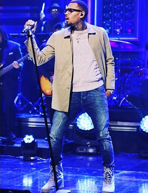 Chris Brown wearing the 'Moonrock' adidas Yeezy 950