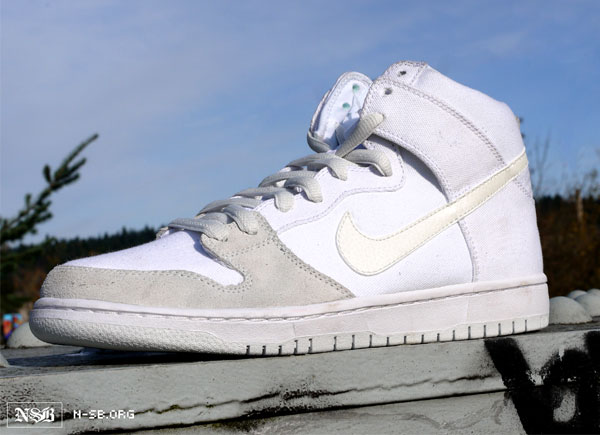 Another Nike SB Dunk High set for release next summer is this extremely  simple white-based colorway.