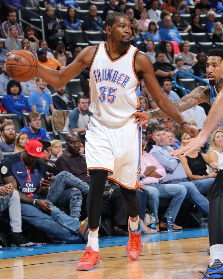 low priced 9bf89 071a8 Kevin Durant wearing the  Creamsicle  Orange Nike KD 8 (1)