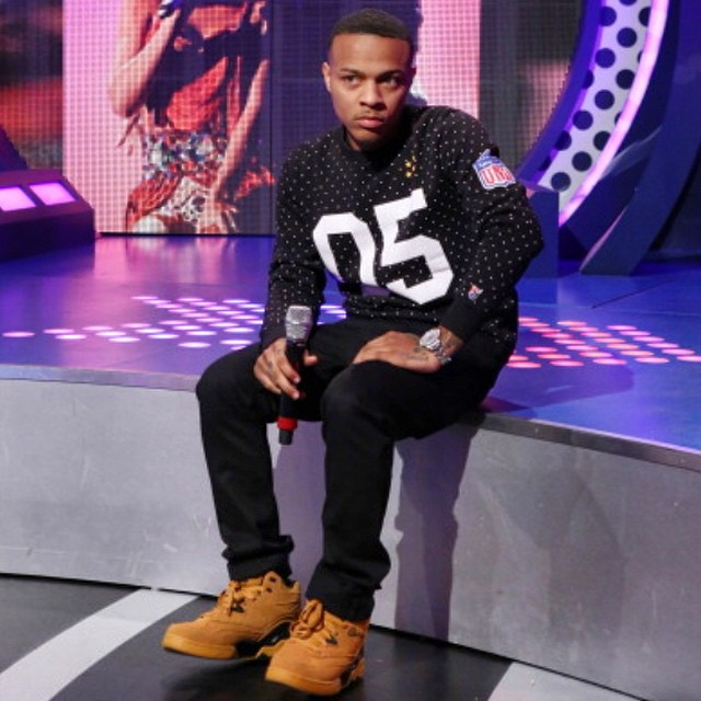 Bow Wow wearing Ewing Guard Wheat