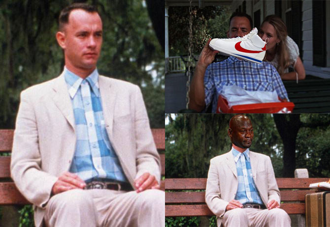 Best Michael Jordan Crying Sneaker Memes: Forrest Gump Hates the New Cortez