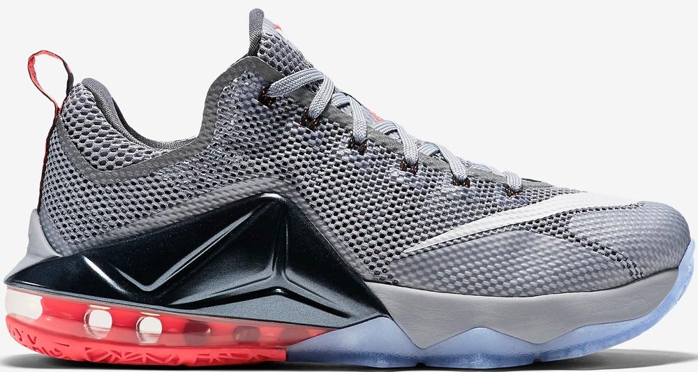Nike LeBron 12 Low Wolf Grey/White-Dark Grey-Hot Lava