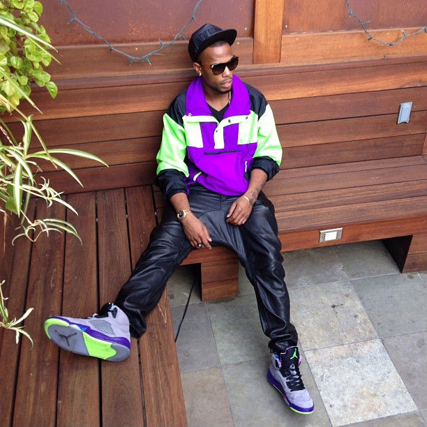 B.o.B. wearing Air Jordan 5 V Retro Bel-Air