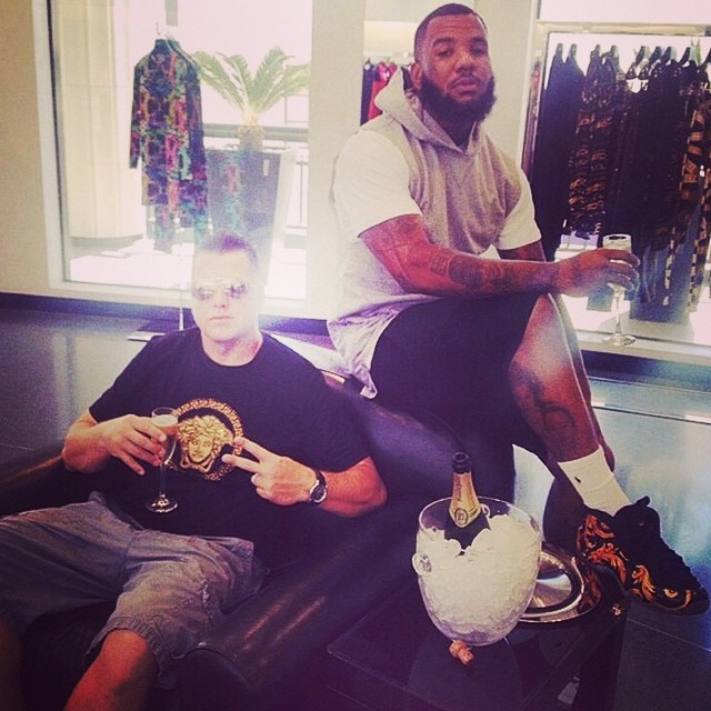 The Game wearing Supreme x Nike Air Foamposite One Black
