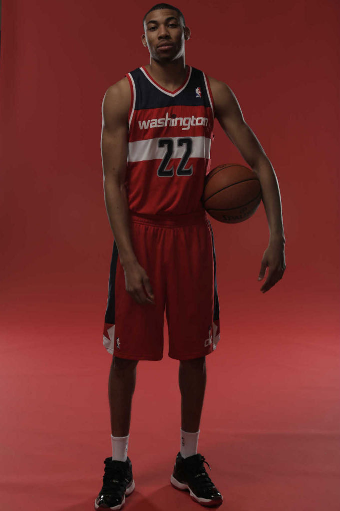 Otto Porter wearing Air Jordan XI 11 Retro Black Red