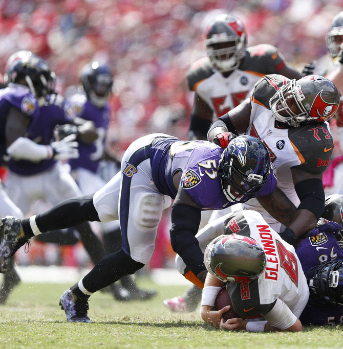Terrell Suggs wearing Nike Vapor Pro Mid Ravens Galaxy by Dez Customz (2)