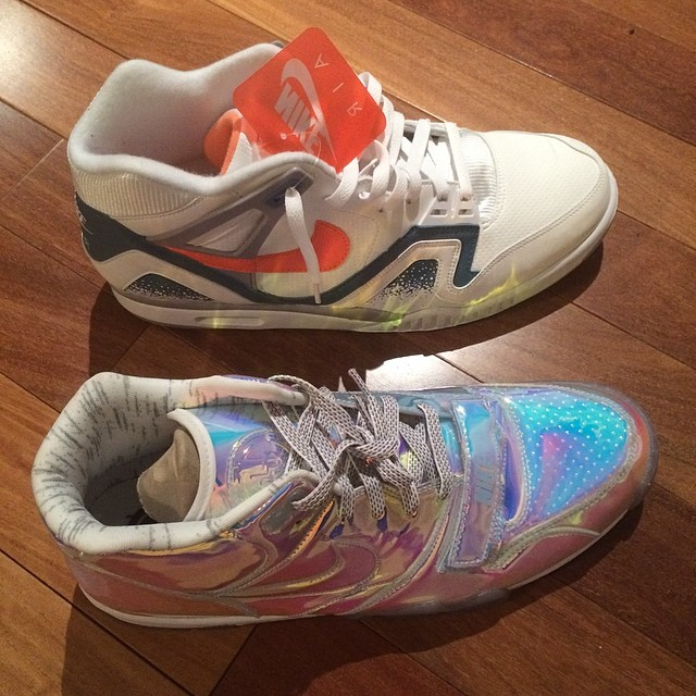 JR Smith Picks Up Nike Air Trainer 1 Silver Speed & Nike Air Tech Challenge II Clay Blue