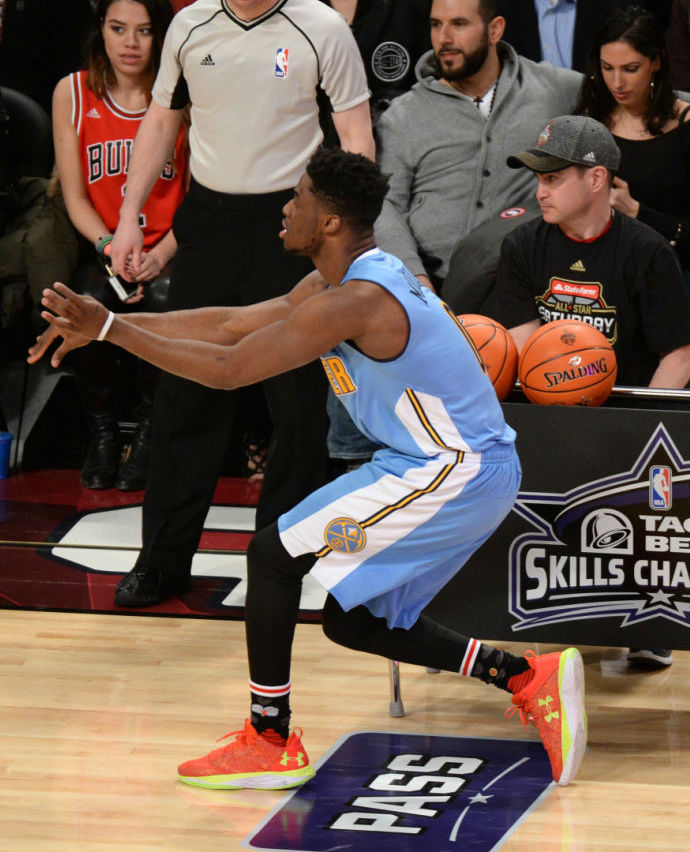 Emmanuel Mudiay Wearing the Under Armour Fire Shot Low