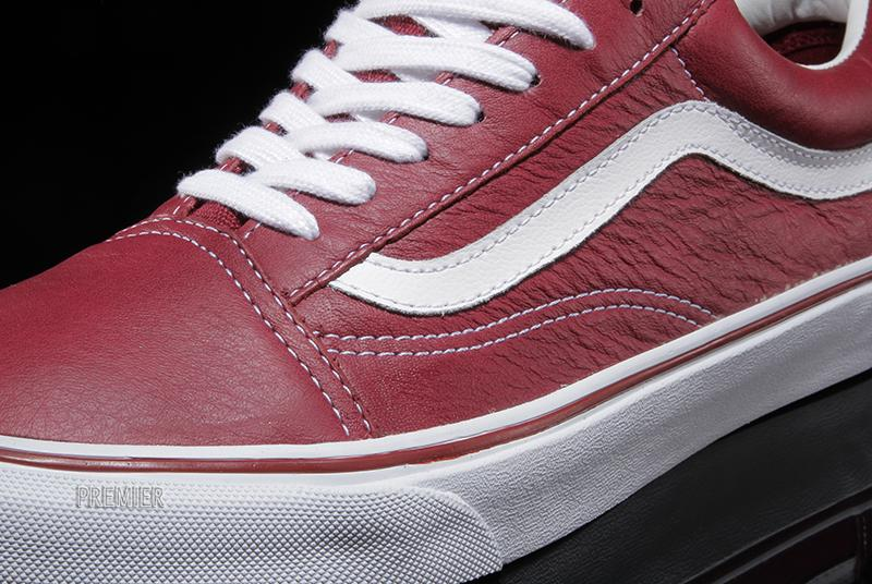 vans old skool red leather