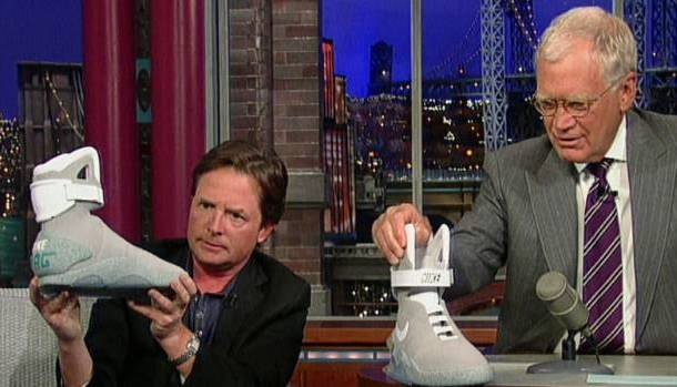 Michael J. Fox Shows Back to the Future Nike MAG Shoes to David Letterman On Tonight's Show