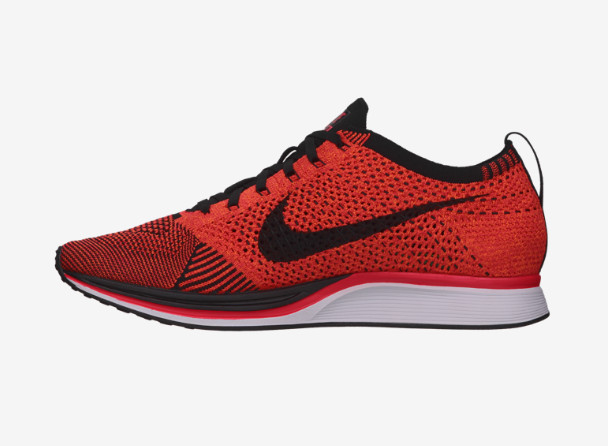 Nike Flyknit Racer in Black / Laser Crimson / Total Orange Medial