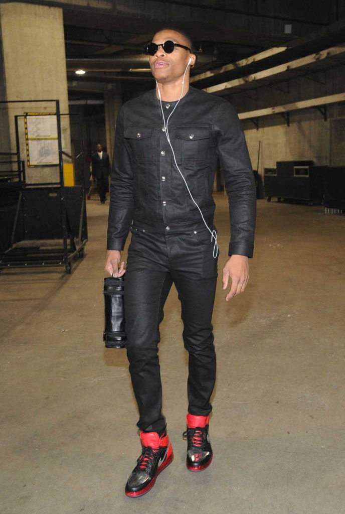 Russell Westbrook wearing Air Jordan 1 I Retro Legends of the Summer