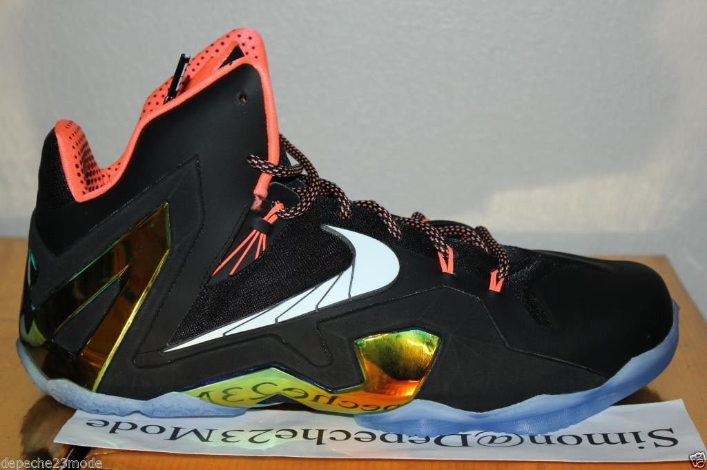 Nike LeBron 11 Elite Black/Metallic Gold-Mango-White 642846-002