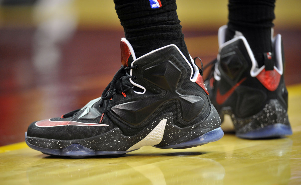 LeBron James wearing Black/White-Red Nike LeBron 13 PE (1)