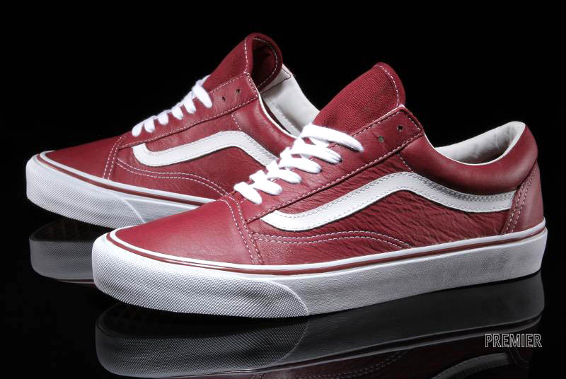 vans old skool leather white red