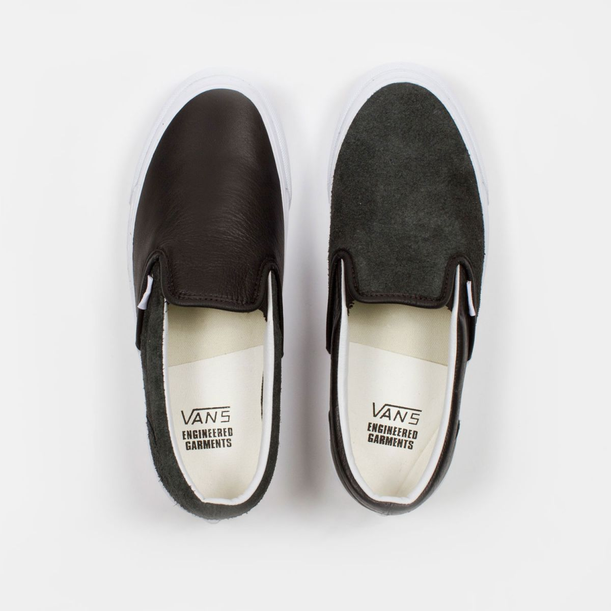 engineered garments x vault by vans og classic slip-on lx lthr black