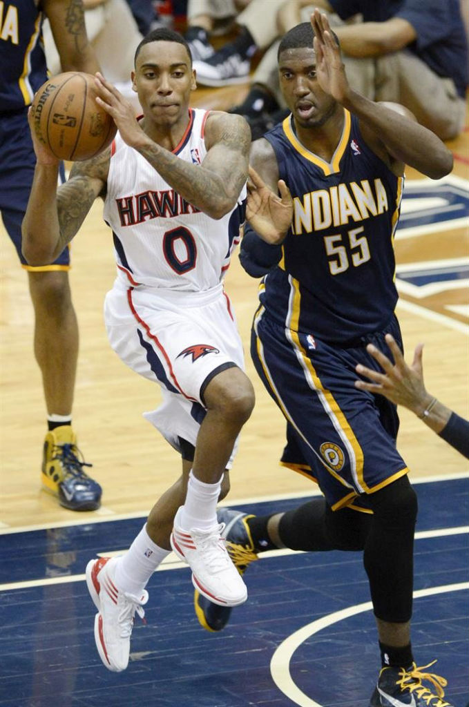 Jeff Teague wearing adidas adizero Crazy Light Low