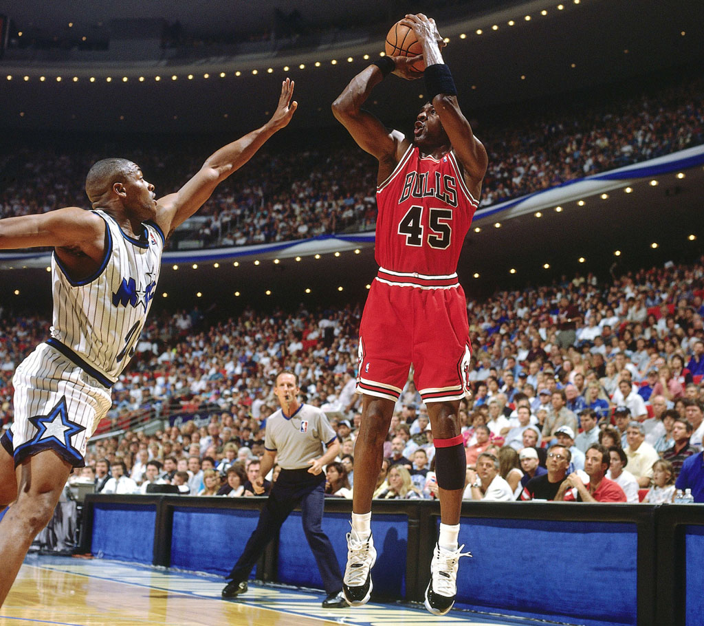 check out 5fbe2 a670e Michael Jordan Debuts the  Concord  Air Jordan XI 11 on May 7, 1995