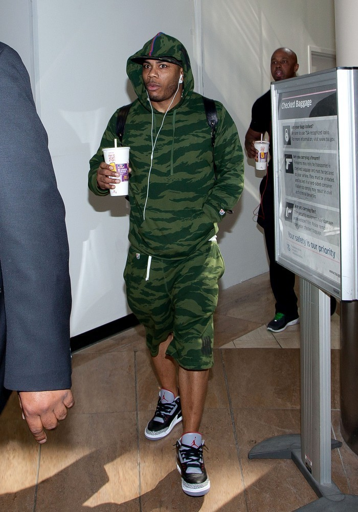 Nelly wearing Air Jordan 3 III Retro Black Cement