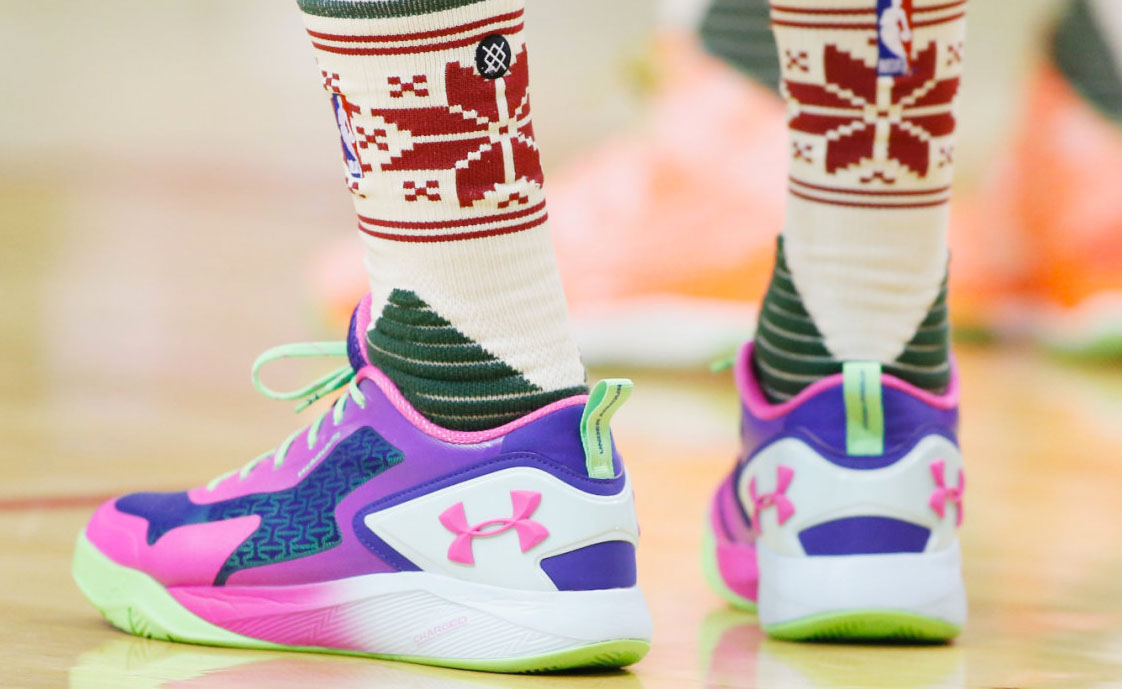 Patty Mills wearing the 'Northern Lights' Under Armour ClutchFit Drive 2 Low