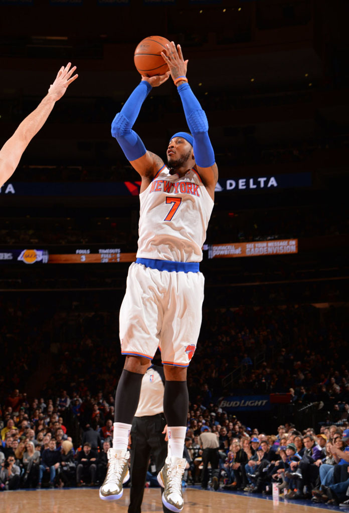 Carmelo Anthony wearing Jordan Melo M10 Awards Season