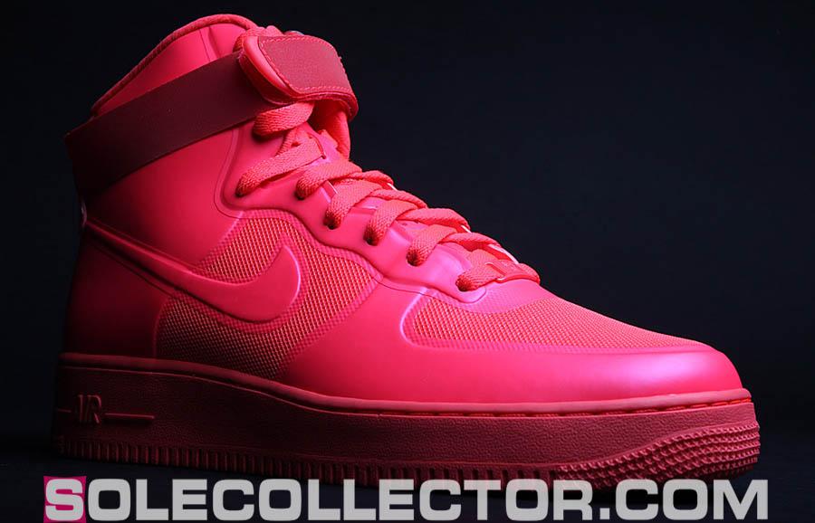 Nike Air Force 1 Haut Blanc Rouge Solaire Prime De Hyperfuse Et Bleu