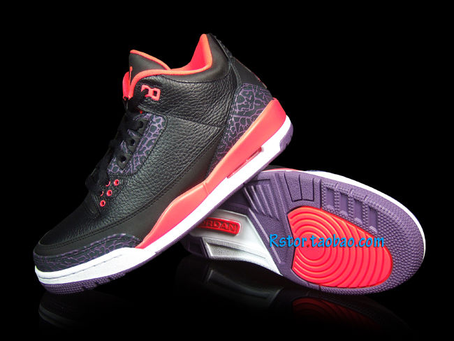 Air Jordan III 3 Black Crimson Purple 136064-005 (11)