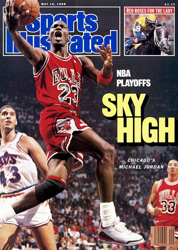 f5ccd8bd51a2 Michael Jordan wears  Fire Red  Air Jordan III 3 on May 1988 Sports  Illustrated
