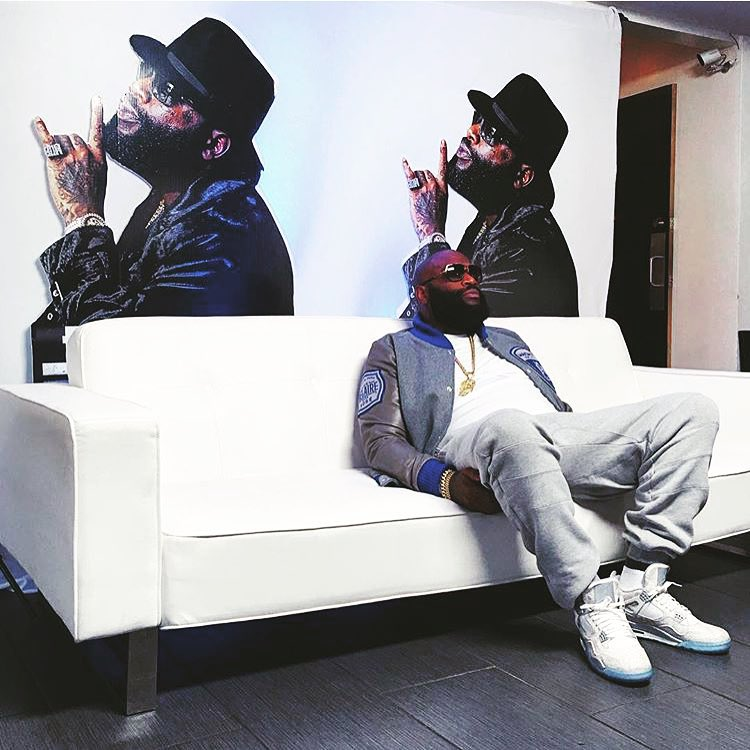 Rick Ross wearing the 'Laser' Air Jordan 4