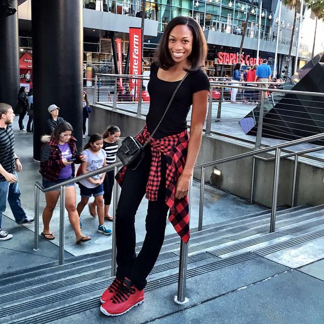 76ad71225dca Allyson Felix wearing the  Bulls Over Broadway  Air Jordan X 10