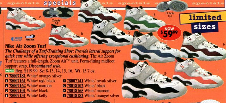 Nike Air Zoom Turf in Eastbay Catalog 1998