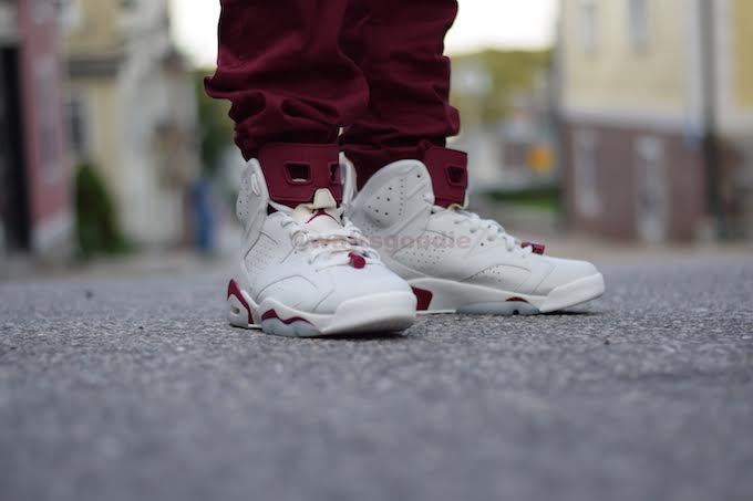 Air Jordan 6 Maroon On-Foot 384664-116 (7)