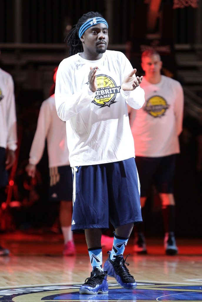 Wale wearing Nike Air Foamposite One Royal