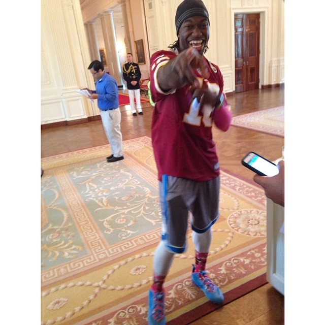 RG3 wearing adidas Cleats to the White House