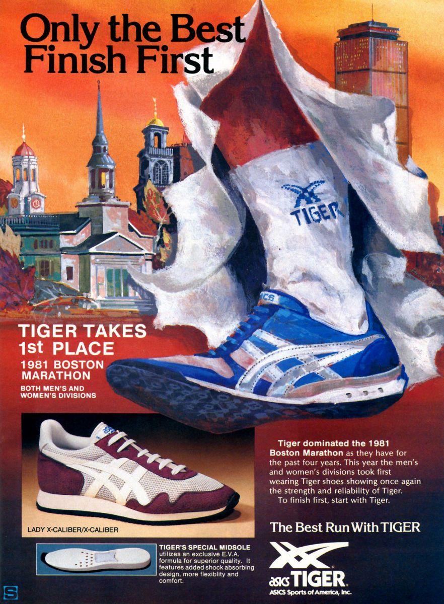 vintage ad asics tiger xcaliber 1981 boston marathon