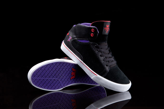 Supra Society Mid Black Suede Purple Red (1)