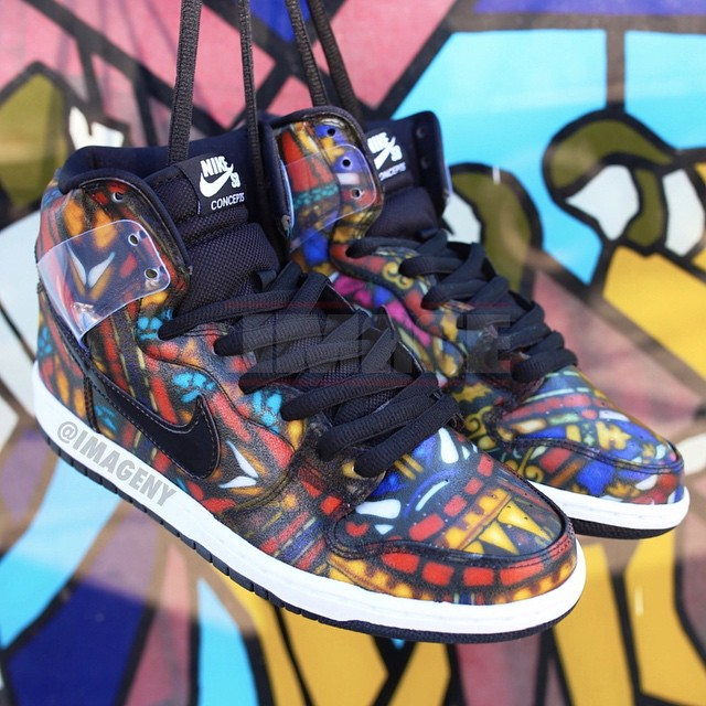 the latest 13f98 b28f0 Concepts x Nike Dunk High SB Stained Glass (1)