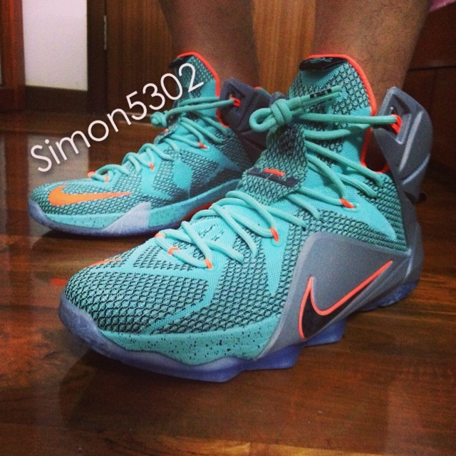 6ee69097f2f Nike LeBron XII 12 Teal Grey-Orange Sample (17)