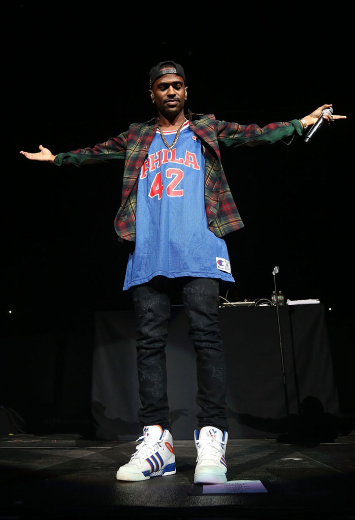 Big Sean wearing adidas Originals Attitude Hi Knicks